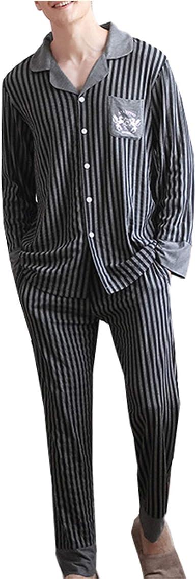 Pijamas Hombre Modal Manga Larga Raya Conjunto De Pijama para ...