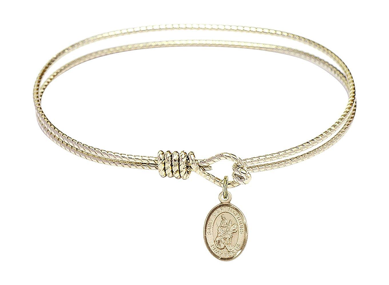 St Martin Of Tours Charm On A 7 1//4 Inch Oval Eye Hook Bangle Bracelet