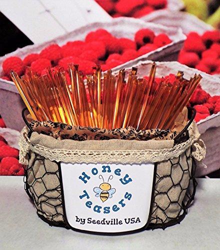 Honeystix Straws - New 5 Pack RASPBERRY HONEY TEASERS Natural Honey Snack Sticks Honeystix Straws
