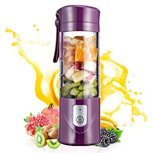 Portable Mini Travel Fruit USB Juicer Cup, Personal Small Electric Juice Mixer Blender Machine with 4000mAh Rechargeable Battery-420ML Water Bottle (purple)