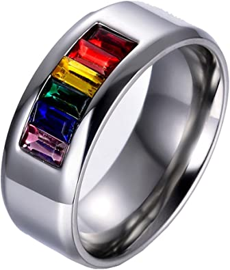 Stainless Steel Gay Lesbian Rainbow Pride Ring #1
