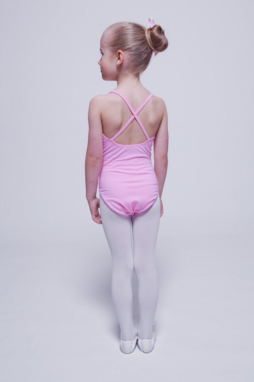 tanzmuster justaucorps Leonie pour enfants - bretelles fines croisées dans  le dos - danse classique - rose aa285e17efd