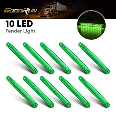 "GOODRUN 10ps 12V Side Marker Lights Truck Extension 6 LED Trailer Lights Bulbs Clearance Light for RV, Trucks,Trailers,Lorries 4"" Black Base Amber Stroke Lights (Green): Automotive"