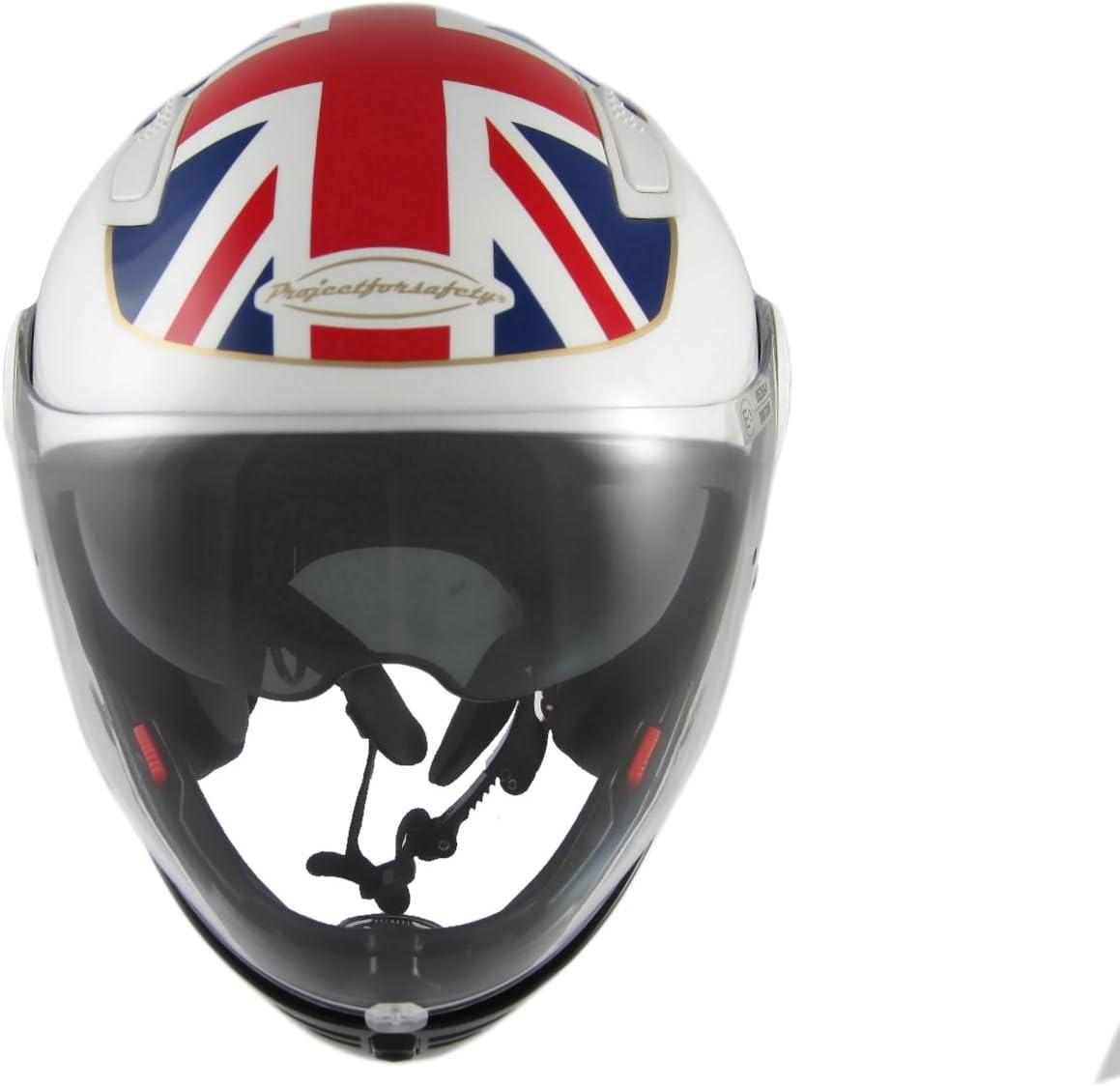 60CM Bianco Motorradhelm mit doppeltem Visier und doppeltem Visier PJ EVO 06 UK FLAG XL zugelassen in Italien ECE 22.05 E3 Mod