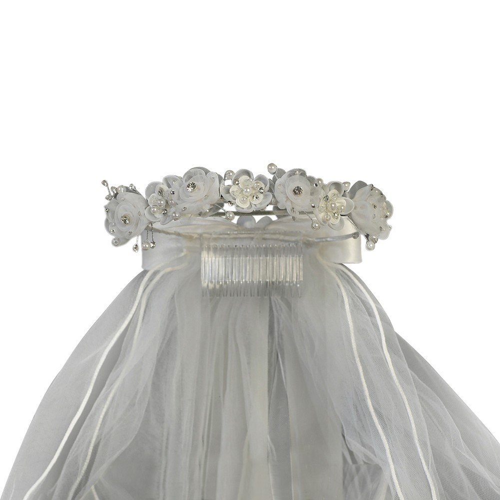 Lito Girls White Organza Flowers Pearls Headpiece 24'' Communion Flower Girl Veil