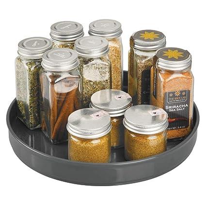 mDesign Plato Giratorio para estantes de Cocina – 22,9 cm de diámetro – Práctico Soporte para Especias para los armarios de la Cocina – ...