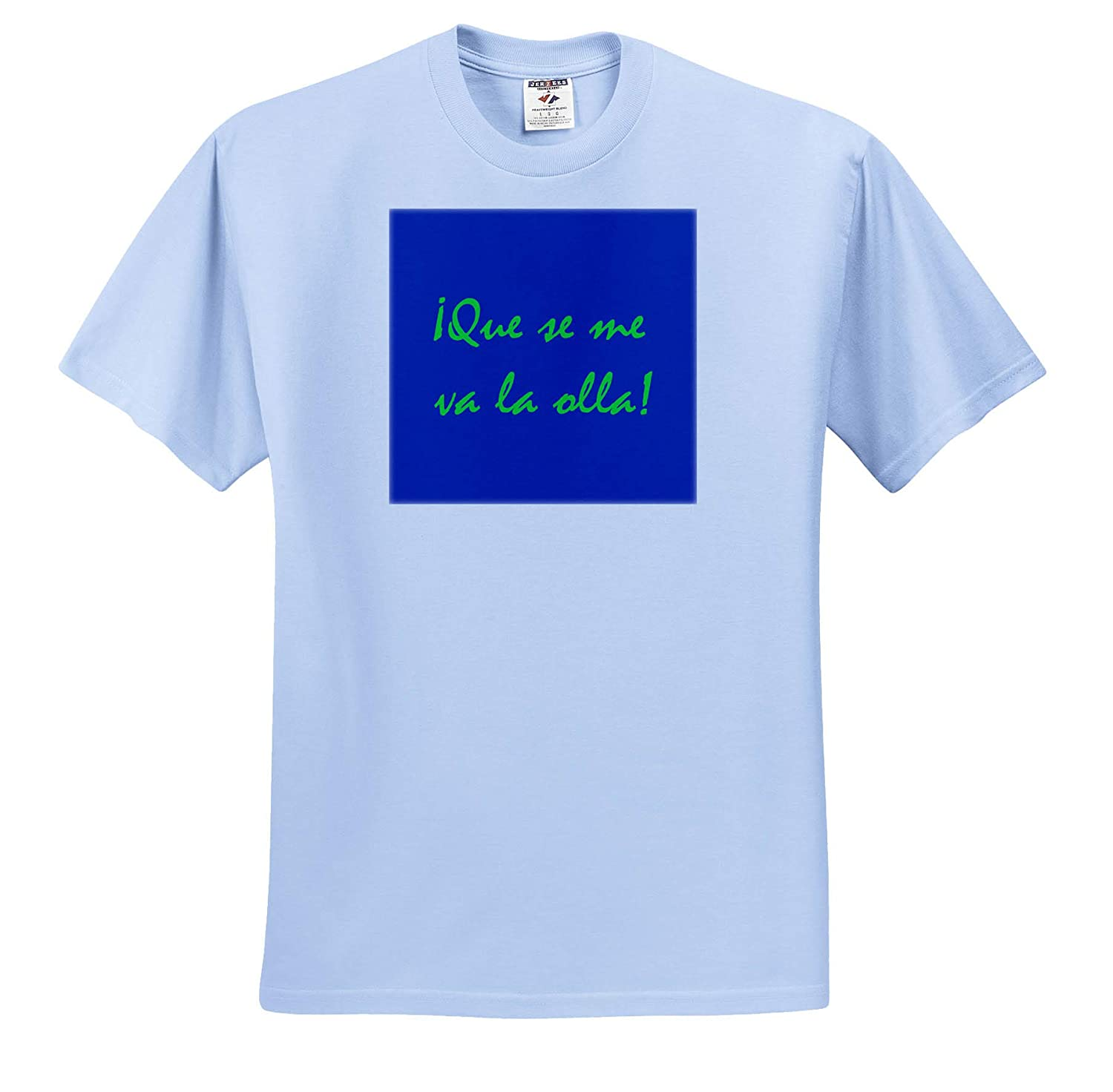 T-Shirts 3dRose Kike Calvo Folklore and Traditions Green Que se me va la olla with Blue Background