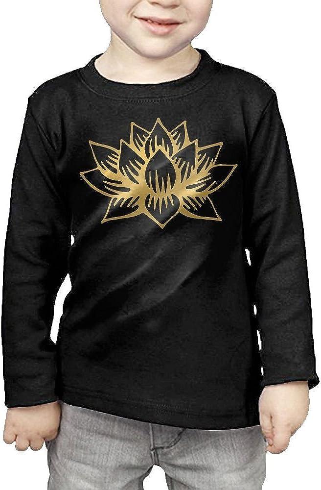CERTONGCXTS Baby Boys Kids White Golden Lotus Mandala ComfortSoft Long Sleeve T-Shirt