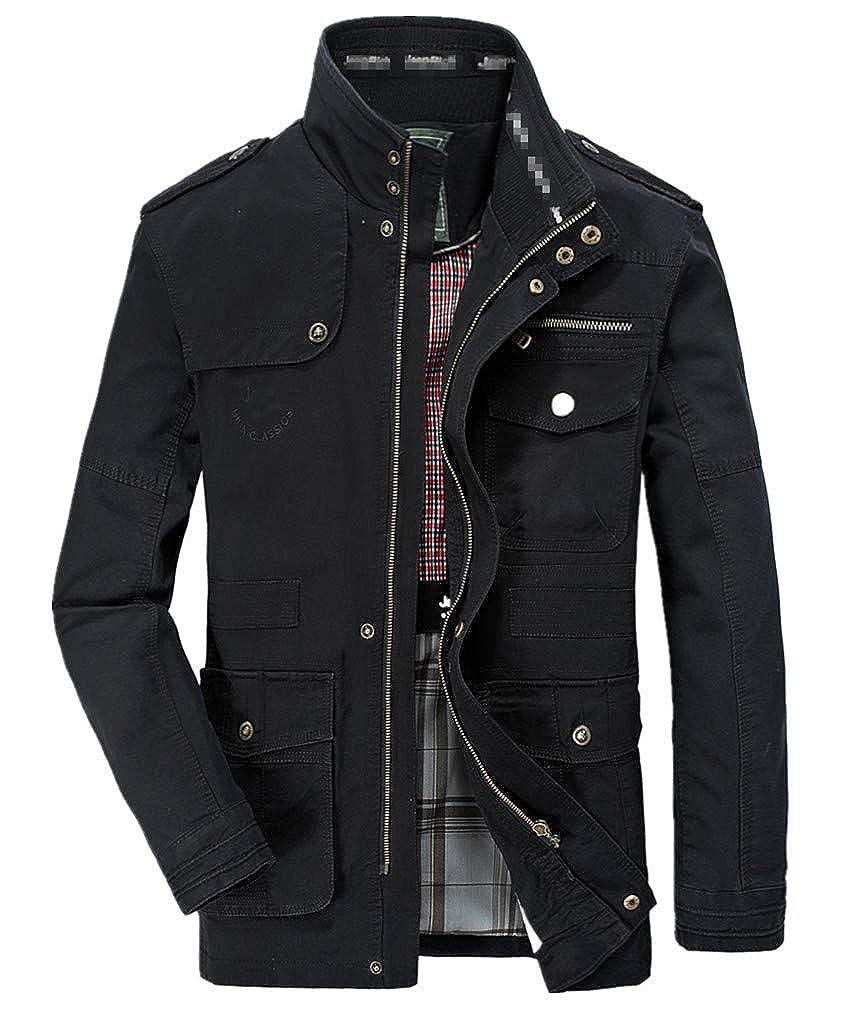 Mens Classic Jacket Pure Cotton Military Jacket Multi-Pocket Casual Coat