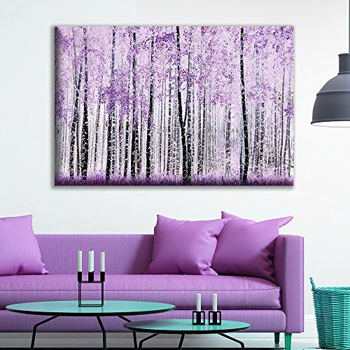 Abstract Trees with Purple Leaves in The Forest