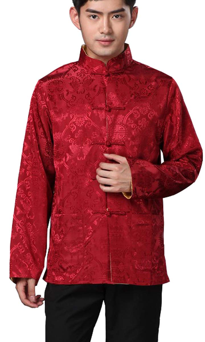 3d9538b20a701 BLINGLAND Chinese Traditional Uniform Top Kungfu Shirt for Men US XS Asia  S-Red+Gold