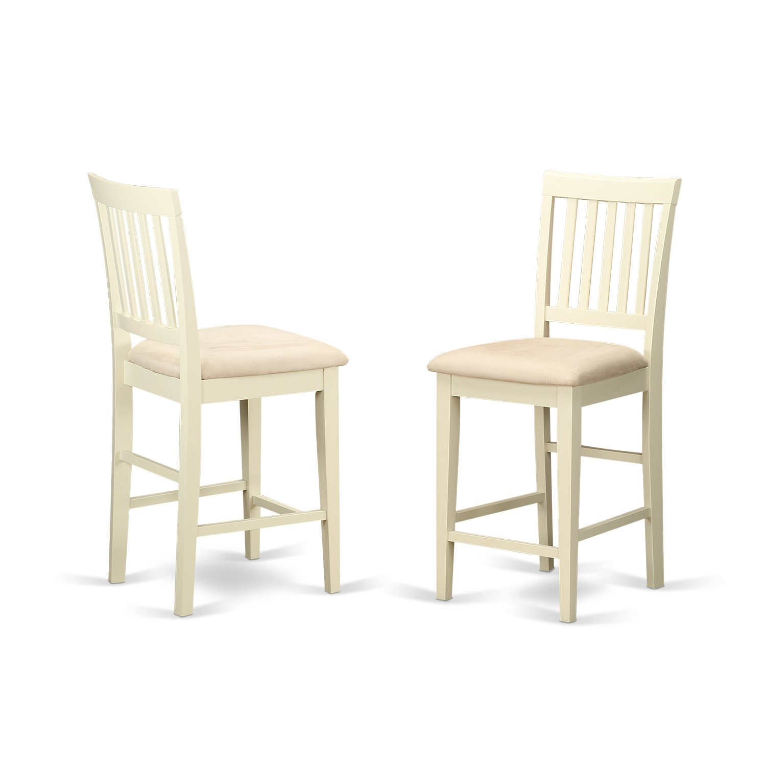 East West Furniture VNS-WHI-C Counter Height Stool Set with Cushion Seat, Buttermilk, Set of 2 by East West Furniture