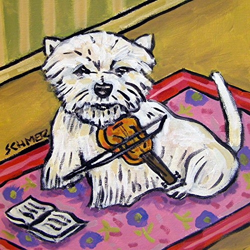 (Westie playing Violin Music Room Decor West Highland White terrier dog art tile coaster gift)