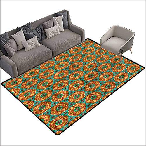 (Large Floor Mats for Living Room Colorful Orange,Kaleidoscopic Floral Motifs 60