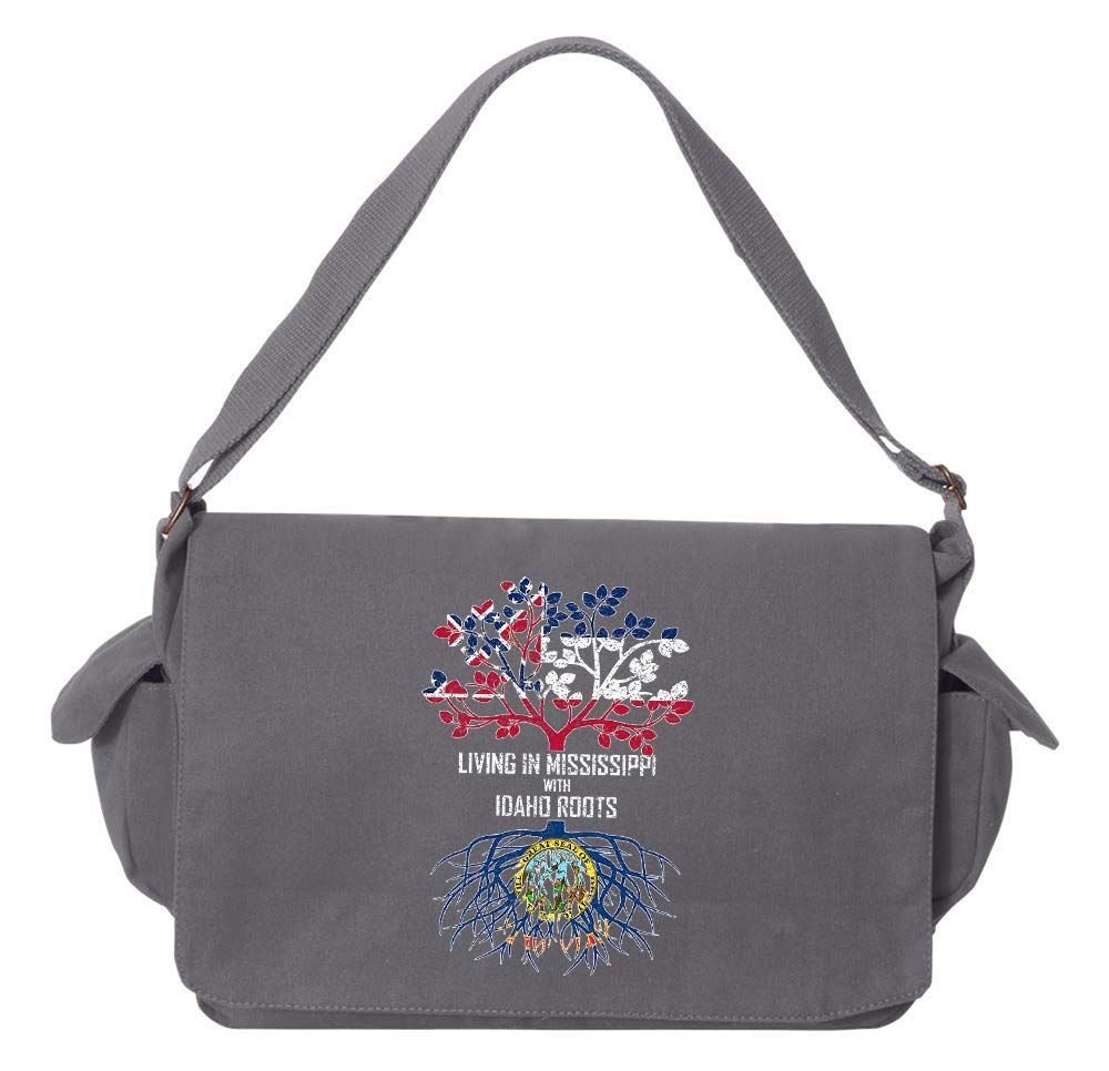 Tenacitee Living In Mississippi with Idaho Roots Grey Brushed Canvas Messenger Bag