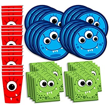 Mighty Monster Birthday Party Supplies Set Plates Napkins Cups Tableware Kit for 16 by Birthday Galore  sc 1 st  Amazon.com & Amazon.com: Monsters Inc Party Supplies Ultimate Set -- Plates Cups ...