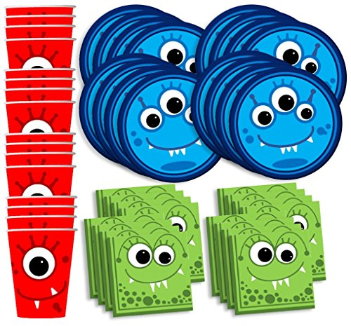 Mighty Monster Birthday Party Supplies Set Plates Napkins Cups Tableware Kit for 16 by Birthday Galore (Monsters Little Tableware)