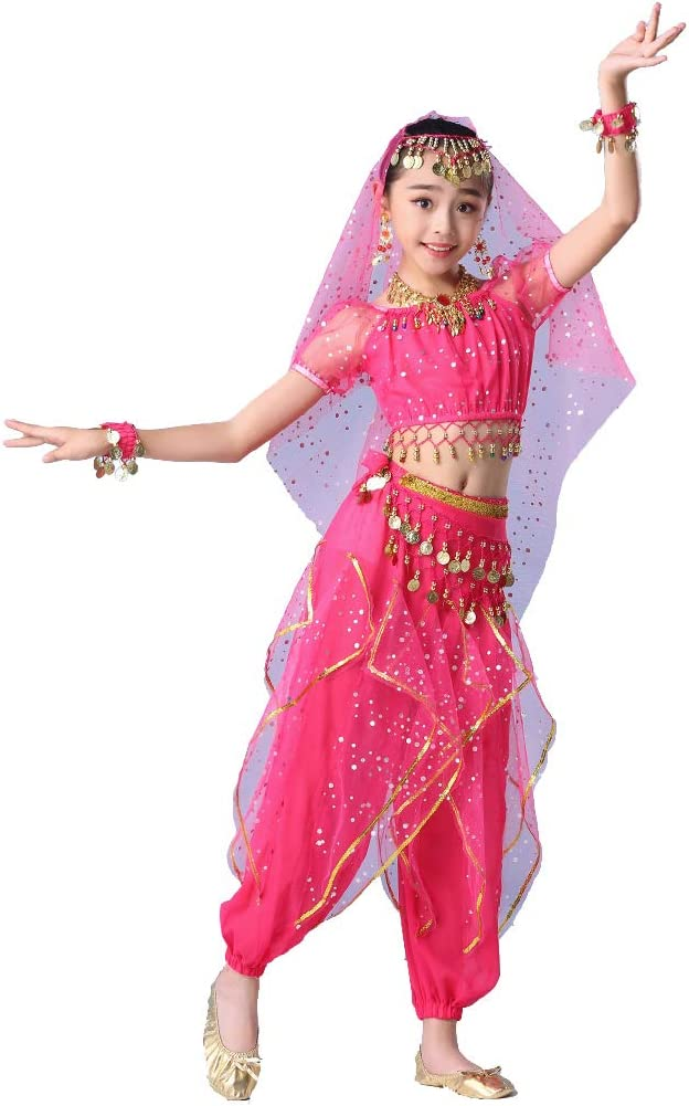 Maguun Bollywood Belly Dance Costume for Girls Kids Arabian Princess Outfit Carnival Performance Dress Set Party Cosplay Dancewear 3-Piece Set