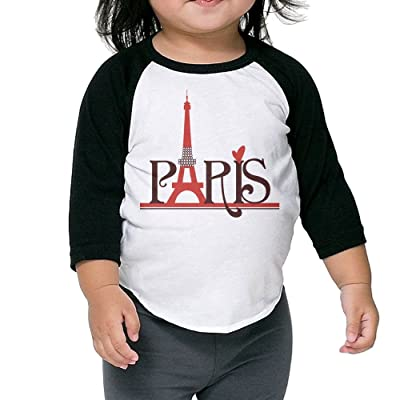 CHENLY Unisex Kid's Sleeves Comfortable Red Paris Cotton 3/4 Sleeves T-Shirt For Child