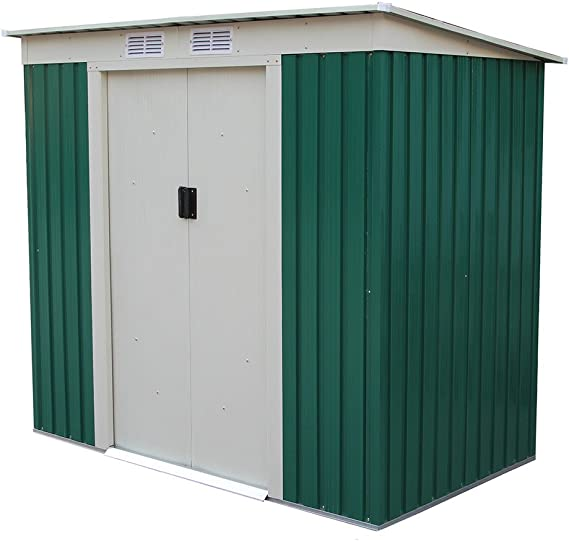 GARDIUN KIS12909 - Caseta Metálica Buckingham 2.43 m² Exterior 121 x 201 x 176 cm Acero Galvanizado Verde: Amazon.es: Jardín