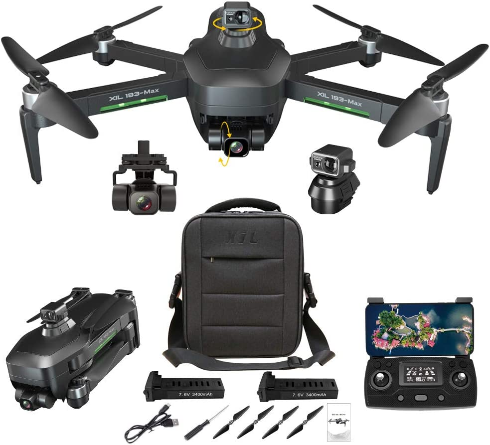 NiGHT LiONS TECH GPS Drones with Camera for Adults,Obstacle Avoidance,3-Axis Gimbal 4K HD Camera,EIS Anti-Shake, 5G WIFI FPV, Long Flight Time,Brushless Motor, Auto Return Home(2 batteries)