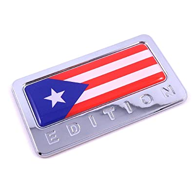 Puerto Rico Edition Chrome Emblem Puerto Rican Flag 3D Decal Car Bike Badge: Automotive