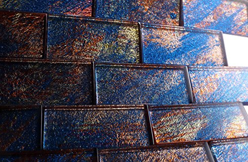 2x4 Glossy Glitter Blue and Red Sky Subway Glass Mosaic Tiles for Bathroom and Kitchen Walls Kitchen Backsplashes