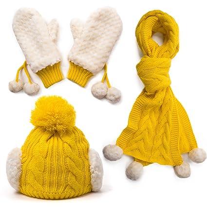 FEIFEI Moda otoño e invierno ocio sombrero bufanda guantes conjunto de tres  elementos capa doble más gruesa mantener caliente con elasticidad proteger  ... 159c51ffa39