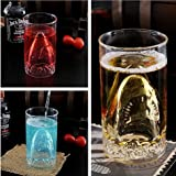 Autek Sharks Cup Creative Transparent Beer Water Wine Drinking Glass Mug