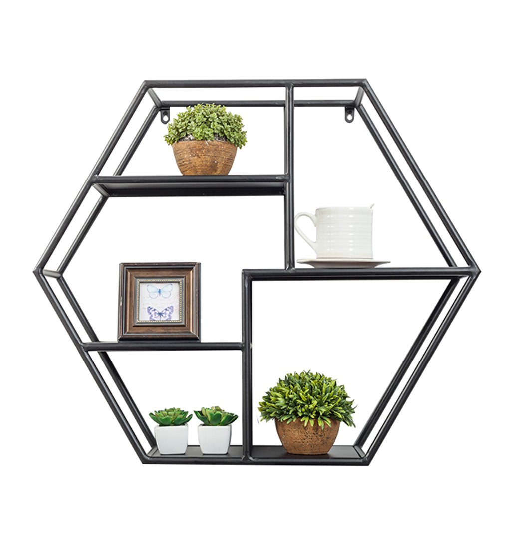 Schweberegale Hängeregale Wandregal Sechseck Metall Eisen für Wohnzimmer Schlafzimmer für Bücherregal Lagerung Display Rack Floating Dekorative Einheit Rahmen Retro Loft Industrie Stil