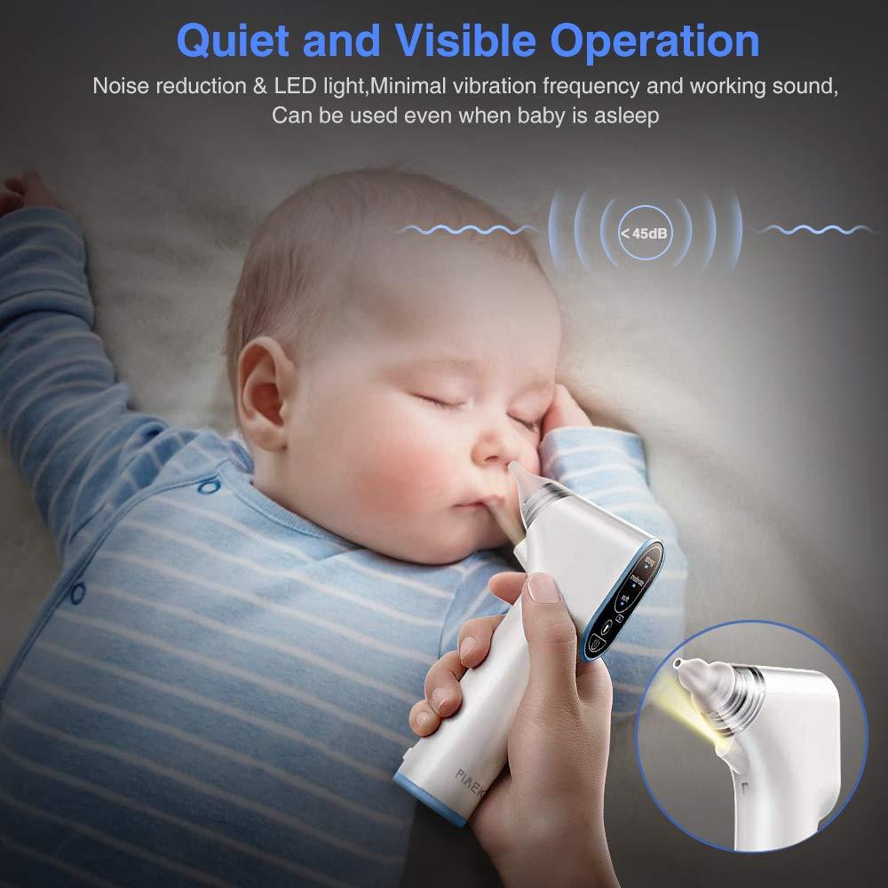 Nasensauger Baby Staubsauger Elektrisch Aufladen Nasenschleimentferner 4 Gr/ö/ßen Silikon Tipps mit 3 Saugstufen f/ür Neugeborene Und Kleinkinder