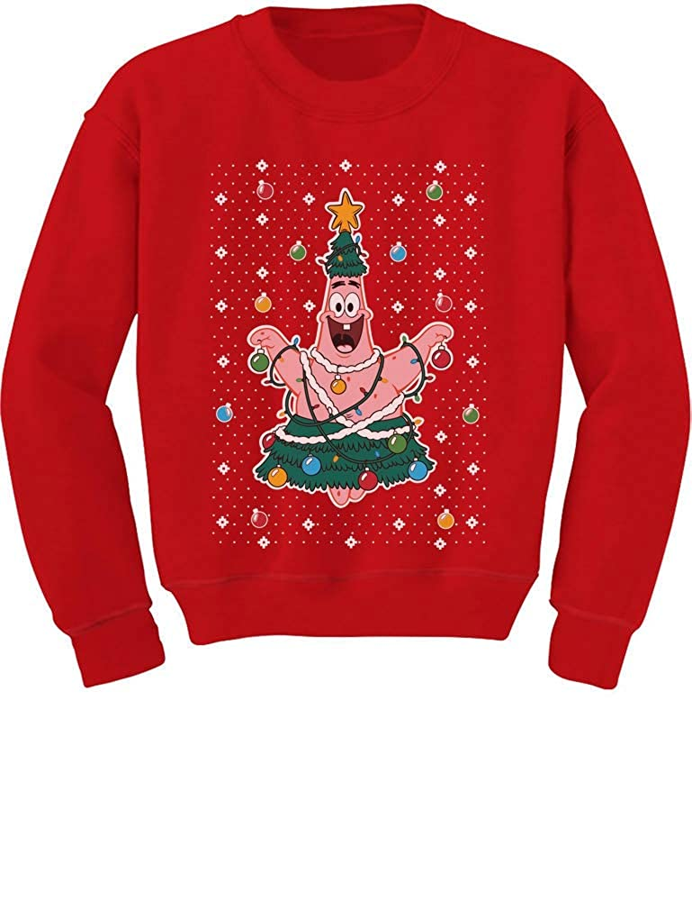 Tstars - Spongebob Ugly Christmas Sweater Patrick Tree Youth Kids Sweatshirt GaMPZaZgfm