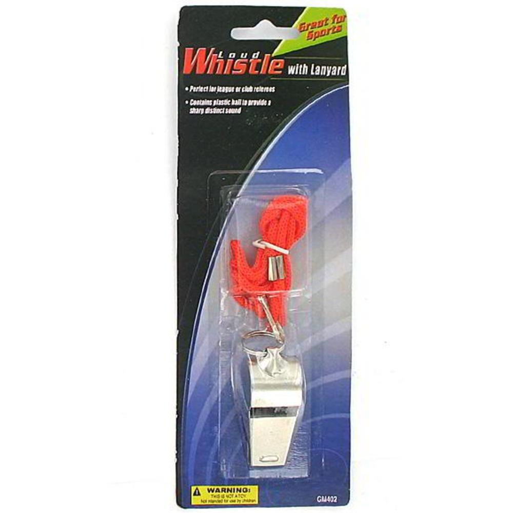 144 Metal whistle with lanyard