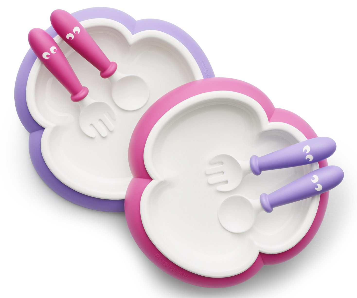 BABYBJORN Baby Plate, Spoon and Fork - Pink/Purple, 2-pack 074046US
