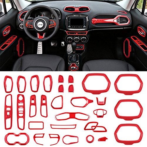 Danti Car Interior Accessories Decoration Cover Trim Air Conditioning Vent Decoration & Door Speaker & Water Cup Holder & Headlight Switch & Window Lift Button Covers for Jeep Renegade 2015-2018 (Red)