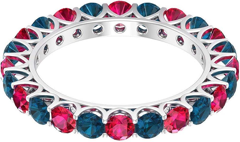 Anillo de topacio azul rubí certificado de corte redondo de 3,24 quilates, rojo, 3 mm, piedra preciosa de oro vintage, anillos de eternidad, 18K Oro