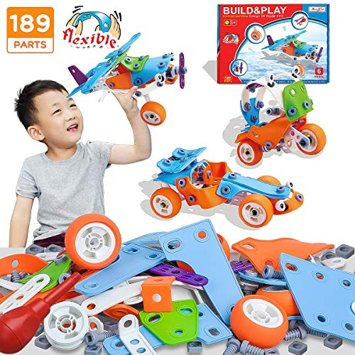 Stem Toys 189pcs | 6-in-1 Stem Learning Toy | Educational Building Toy Set | Engineering Construction Learning Toy | Best Birthday Gift Kids Ages 3 4 5 6 7 8 9 10+