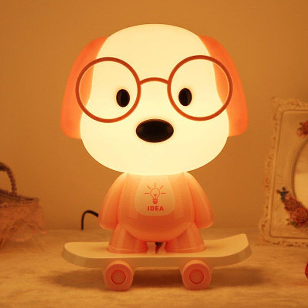 Rest Night Light For Baby Kids Toddler, Cute Cartoon Skateboarding Dog Animals Nightlight Table Desk Lamp, Soft Warm Sleeping Light For Nursery Bedroom Decor by Colors of Rainbow (Image #1)