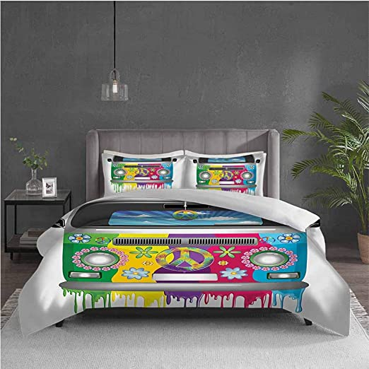 pop art bedroom decor.htm amazon com groovy pure bedding hotel luxury bed linen hippie van  hotel luxury bed linen hippie van