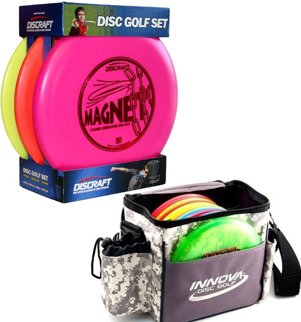 Bundle Includes 2 Items - Discraft Beginner Disc Golf Set (3-Pack) and Innova Champion Discs Standard Bag, Camo