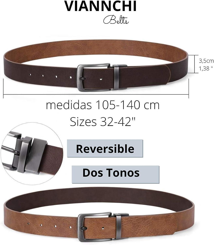 cintur/ón de piel genuino en dos tonos de Marr/ón con correa ajustable en diferentes tallas. Viannchi Cintur/ón reversible hombre