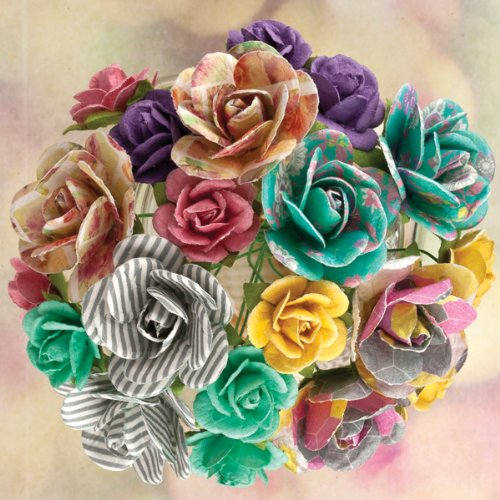 (Prima Marketing Hello Pastel Wire Stem Paper Flowers, 0.75 by 1-Inch, Mini Roses, 20-Pack)