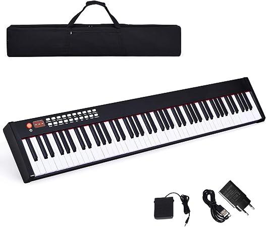 COSTWAY Teclado Piano Digital de 88 Teclas con Bluetooth/128 ...