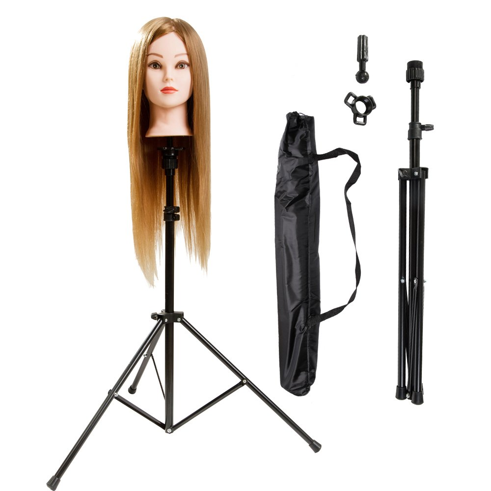 HYOUJIN Metal Adjustable Tripod Stand Holder for Hairdressing Training Head Mannequin Head with Carry Bag