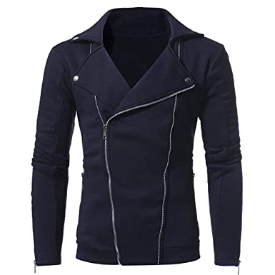 Yvelands Ofertas de Ropa para Hombres, Chaqueta de Punto para Hombre Casual Color sólido Cremallera Diagonal Novedad Camisas Trajes y Abrigos Deportivos: ...