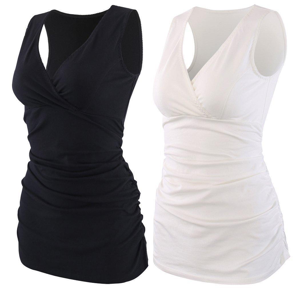 KUCI Maternity Nursing Tank Top, Women Maternity Pajama Tops Nursing Cami Sleep Bra For Breastfeeding (Medium, Black+white/2pack)
