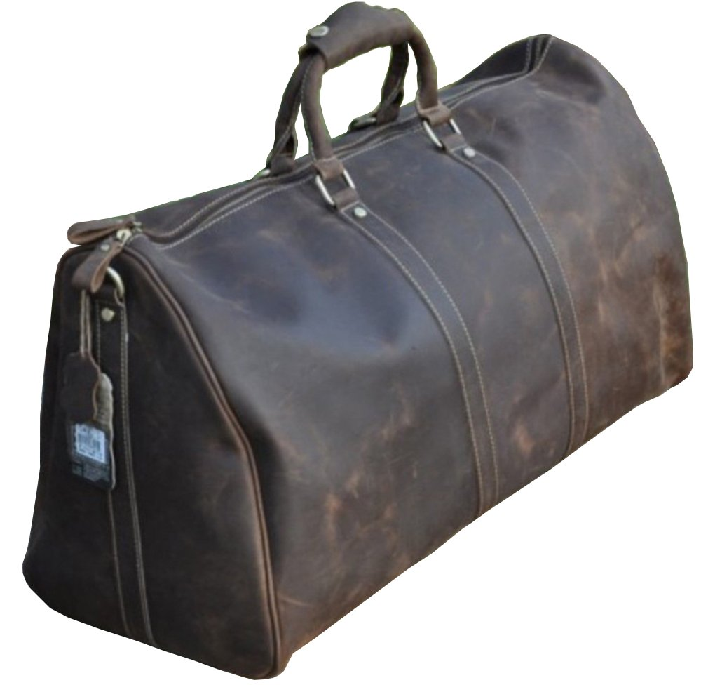 Le'aokuu Mens Genuine Leather Travel Luggage Duffly Gym Carry on Tote Bags (Dark Brown)