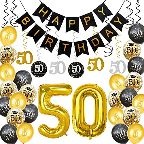 HankRobot 50th Birthday Decorations Party Supplies(40pack) Gold Number Balloon 50 Happy Birthday Banner Latex Balloons(Black, Golden) Confetti Balloons -Great for 50 Fifty Years Old Birthday Party