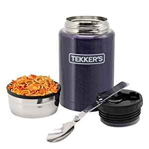 Food Jar Insulated TEKKER'S 17 Oz Thermoses Stainless Steel Lunch Vacuum Bottle with Folding Spoon for School Office Picnic Travel Outdoors (Dark Blue)