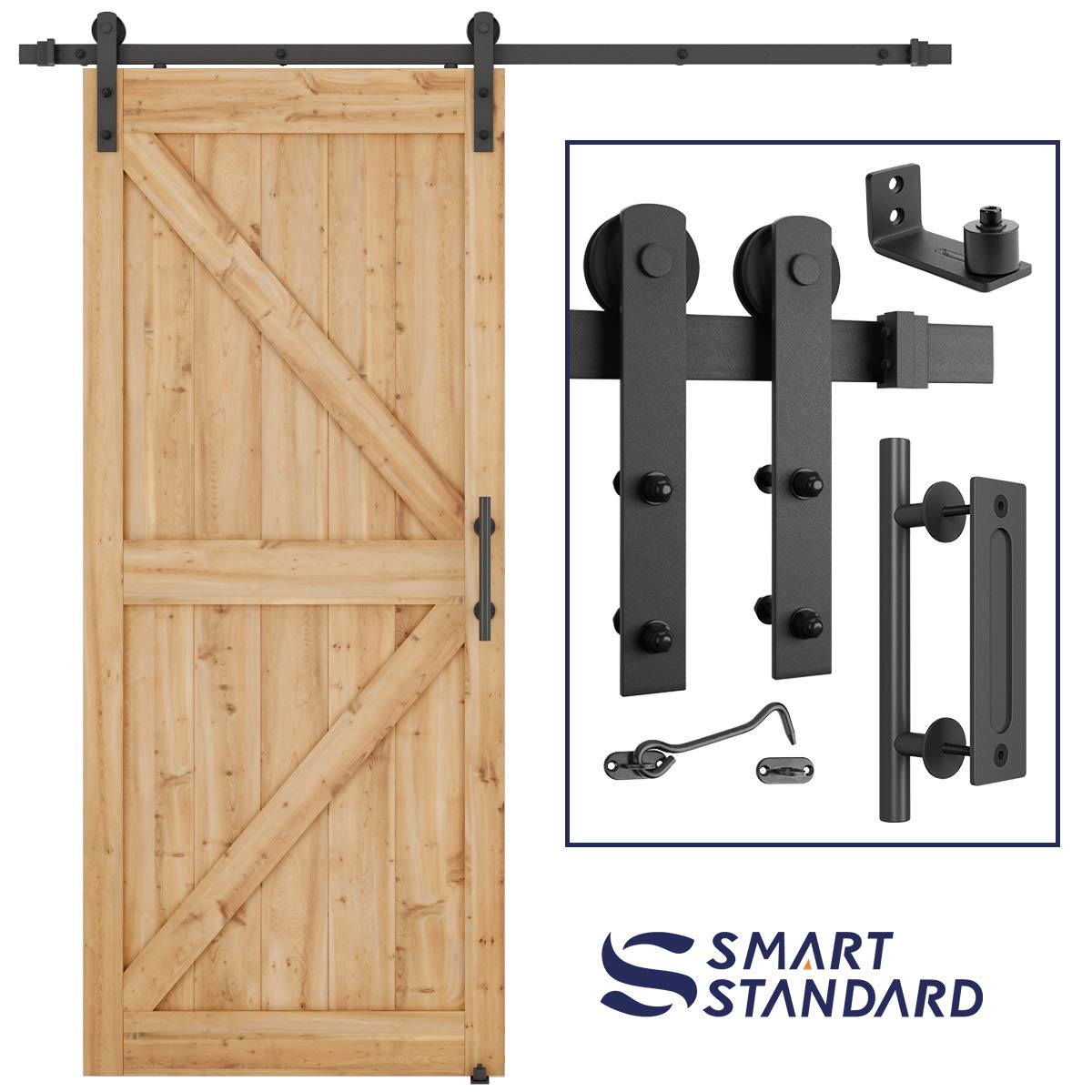 6.6 FT Heavy Duty Sturdy Sliding Barn Door Hardware Kit, 6.6ft Double Rail, Black, (Whole Set Includes 1x Pull Handle Set & 1x Floor Guide & 1x Latch Lock) Fit 36''-40'' Wide Door Panel (I Shape Hanger)
